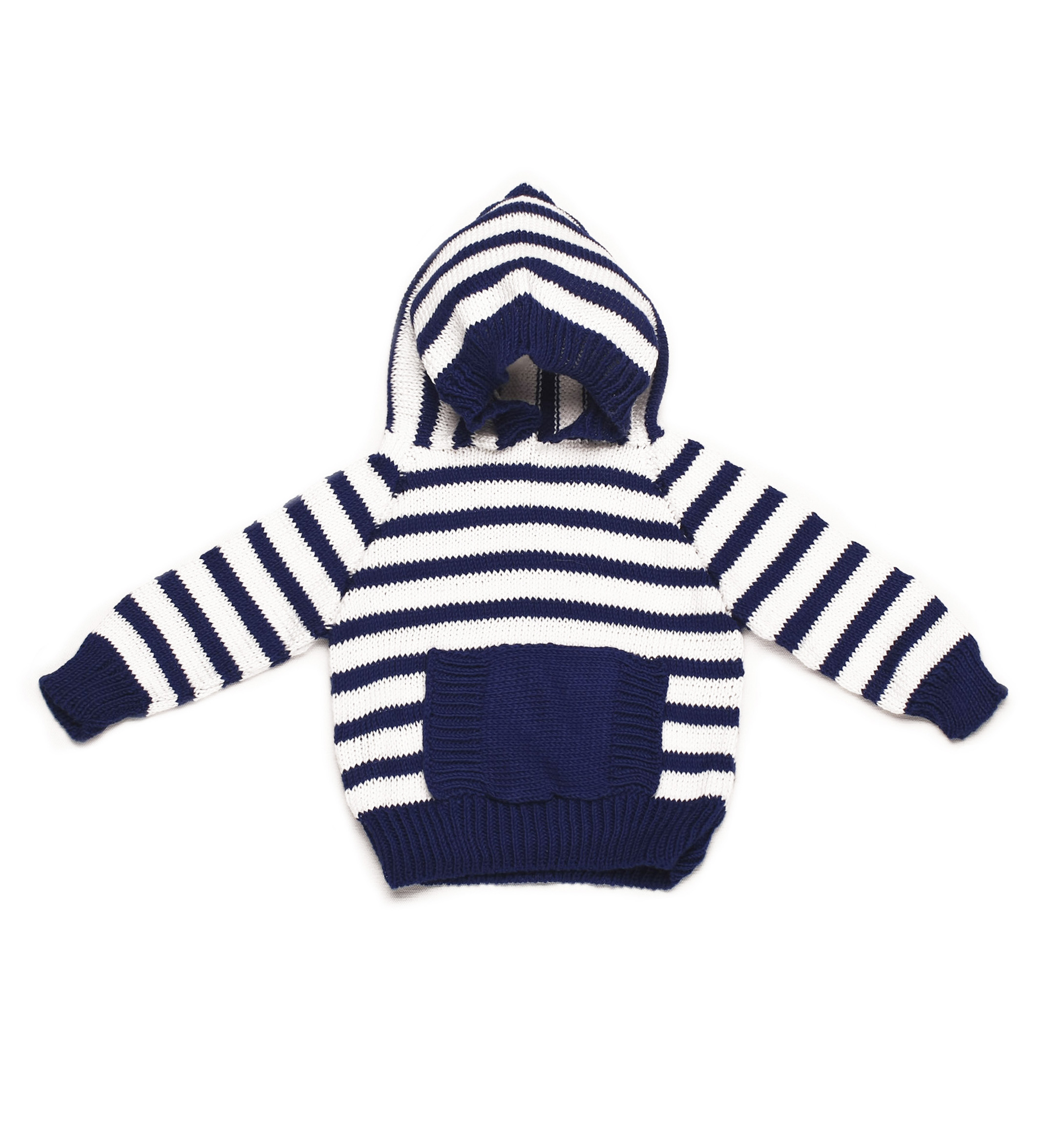 Striped Hoody with pocket 1007