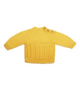 Merino wool Sweater with 3 buttons 1008-Yellow