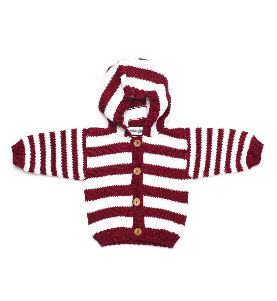 Baby Striped Organic Cotton Cardigan 1031- Bordo