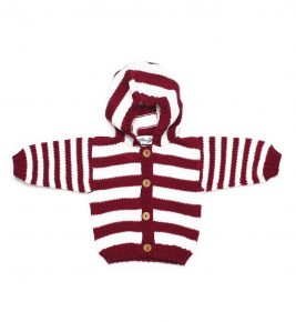 Baby Striped Organic Cotton Cardigan 1031- Bordo