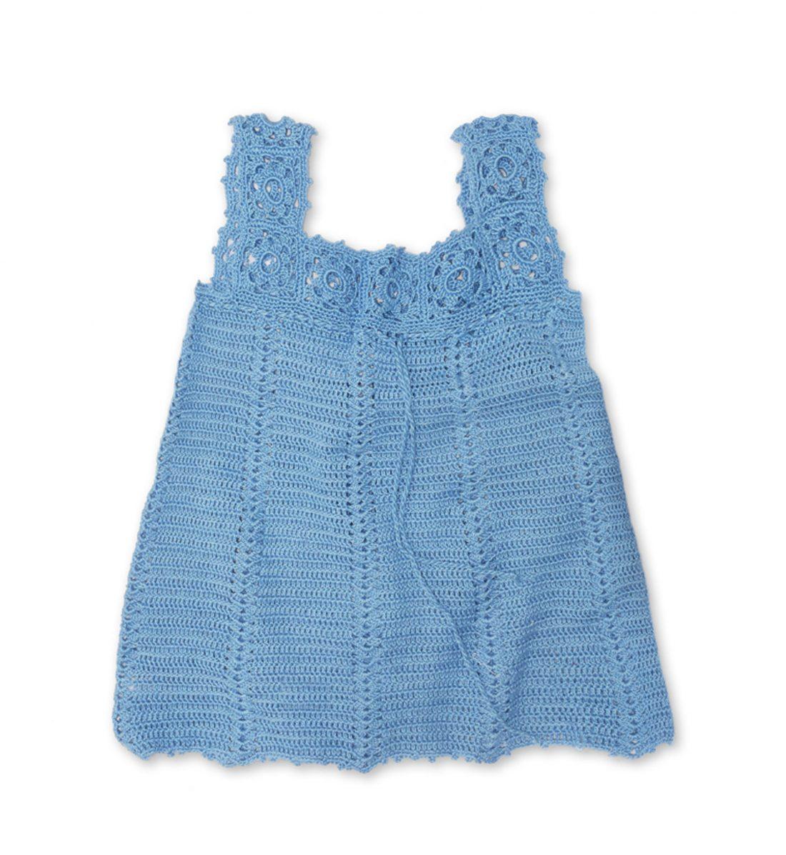 Crochet Soft Cotton Dress 1037 blue