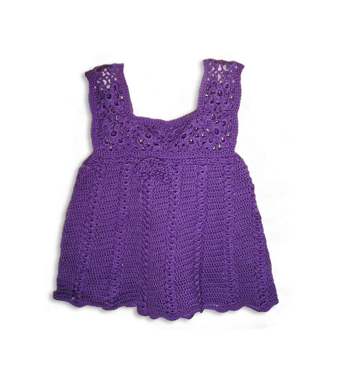Crochet Soft Cotton Dress 1037 purple
