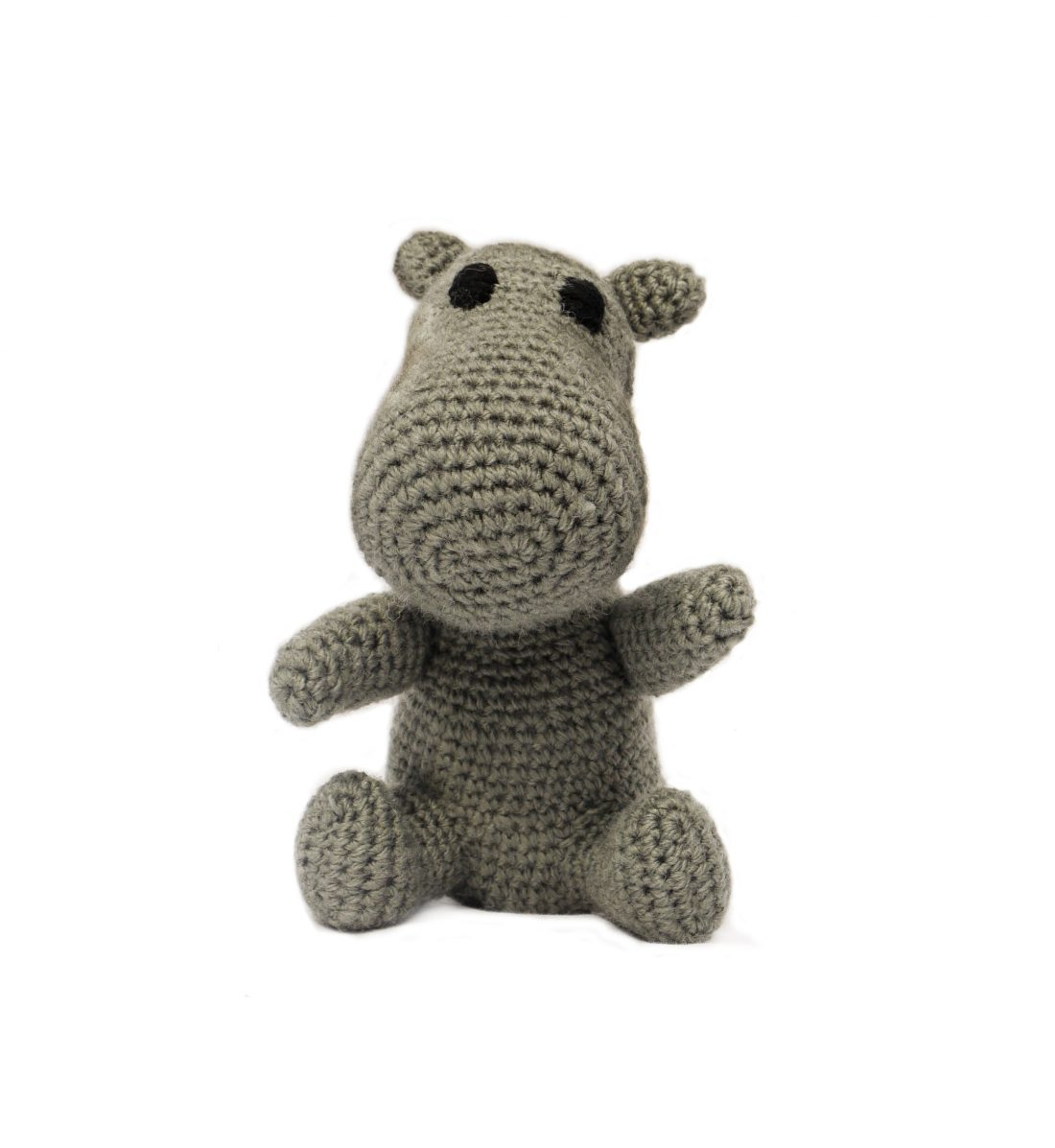 KNITTED HIPPOPOTAMUS WITH THE RATTLE 1038 Grey