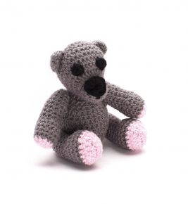 Cute Baby Teddy bear with the Rattle inside 1045 grey