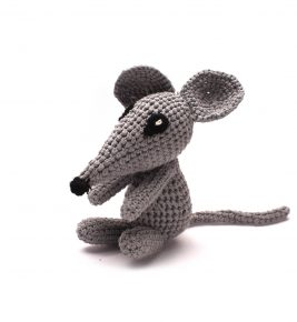 Soft Knitted Mouse with the Rattle 1044 Grey