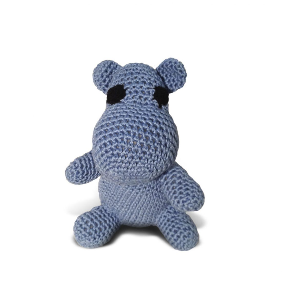 KNITTED HIPPOPOTAMUS WITH THE RATTLE 1038 Blue